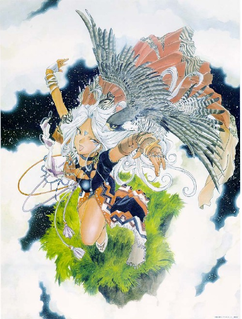 Urd flying with an eagle.